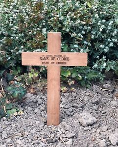 Details About Wooden Memorial Cross Free Plaque And Engraving 17 Grave Marker Burial