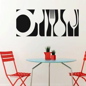 Cuisine Café Mur Autocollants Shop Art Decal Bar Salle à Manger Fourchettes Cuillères à Plaques-afficher Le Titre D'origine RafraîChissant Et Enrichissant La Salive