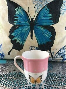 """New LENOX Fine China BUTTERFLY MEADOW Coffee MUG Color Pink 3 5/8"""" Height"""