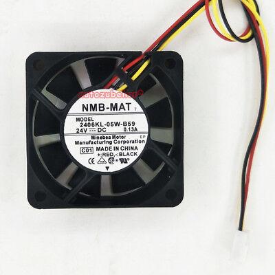 For NMB 2406KL-05W-B59 Fan 24V 0.13A 60*60*15 3pin