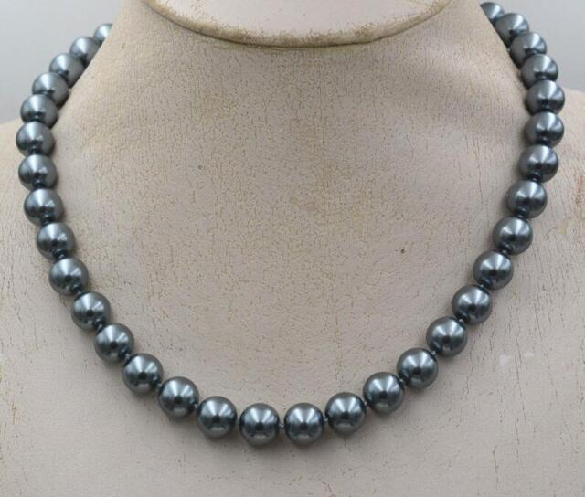 """10mm South Sea Dark gray Shell Pearl Necklace 18/"""" LL0066"""