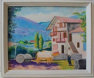 Grand Tableau Pastel Pays Basque Sare Etxe Bouvier Pyrénées Bel Euskal Herria