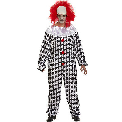 Mens Scary Clown Adult Costume & Red Wig Halloween Horror Fancy Dress Outfit