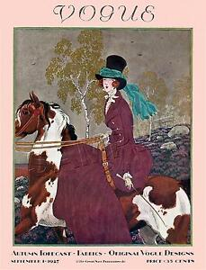 RARE Vintage SIDESADDLE Antique Horse FASHION Magazine Cover *CANVAS* Art PRINT