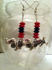 Tibetan Silver DACHSHUND Weiner DOG Red and Blue Wood EARRINGS, SP Wires, doxie