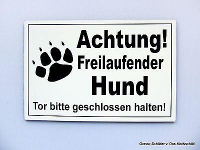 Schilder & Plaketten Herrlich Achtung Freilaufender Hund,gravur Schild,12 X 8 Cm,hundeschild,warnschild,neu Kataloge Werden Auf Anfrage Verschickt