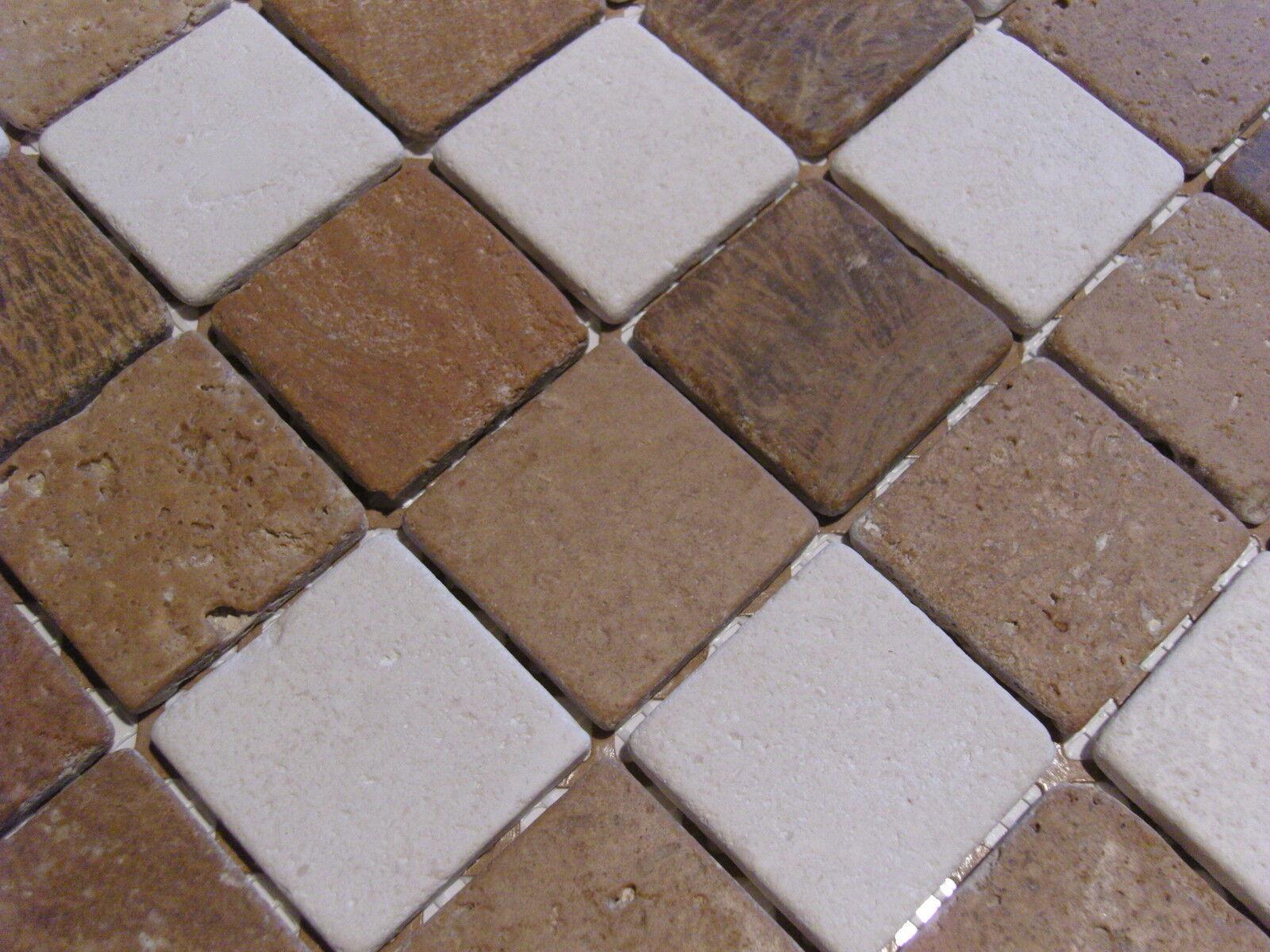 1 qm - Bad Fliese Naturstein Marmor Mosaik braun weiss hell TOP - antik style