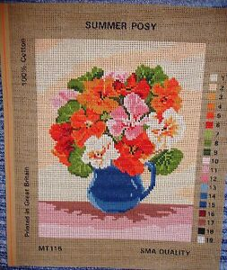 NEEDLEWORK-TAPESTRY-CANVAS-SUMMER-POSY-NASTURTIUMS-IN-BLUE-JUG-GARDEN-FLOWERS