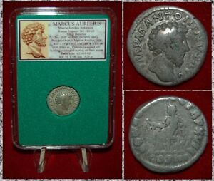 Roman-Empire-Coin-MARCUS-AURELIUS-Concordia-Seated-on-Reverse-Silver-Denarius