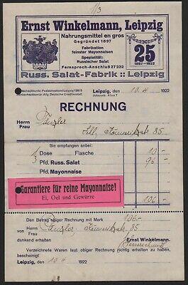 2019 Neuer Stil Leipzig, Rechnung 1922, Russ. Salat-fabrik Ernst Winkelmann, Nahrungsmittel Moderne Techniken