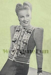 Vintage Knitting Pattern Childs Fair Isle Xmas//Reindeer//Skiing Jumper /& Cardigan