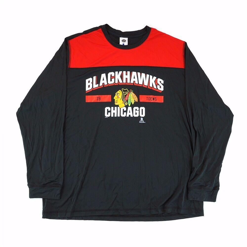 Black Reebok NHL Chicago Blackhawks Men/'s Cotton Long Sleeve T-Shirt