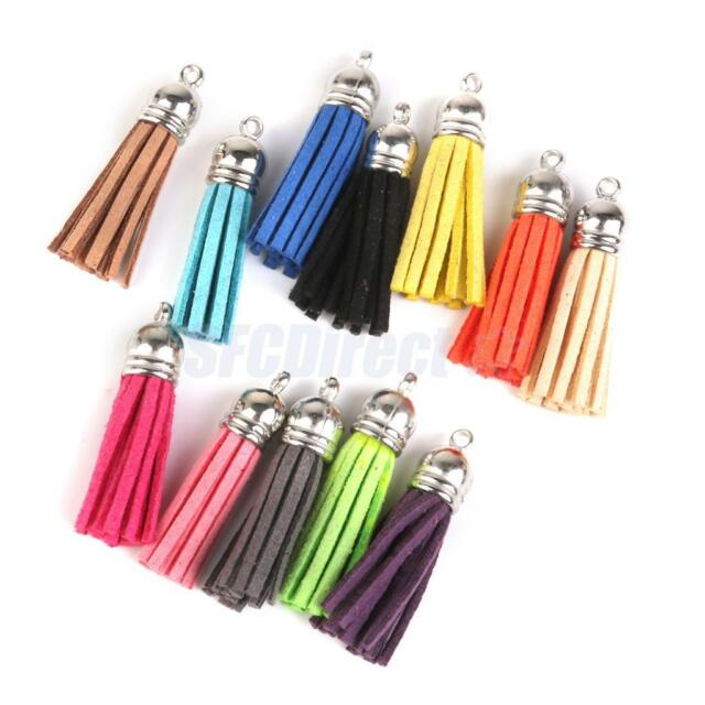 12x Velvet Key Tassels 4cm Tassel Pendants Jewelry DIY Accessory Mix Color