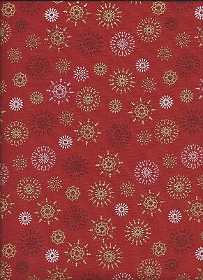 Coupon tissu Motifs Rouge sur Fond Blanc 60x40cm