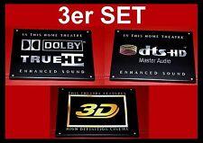"3er Set-""DOLBY TRUE HD /DTS-HD Master Audio/ 3D "" Logo Leinwand Schild Heim Kino"