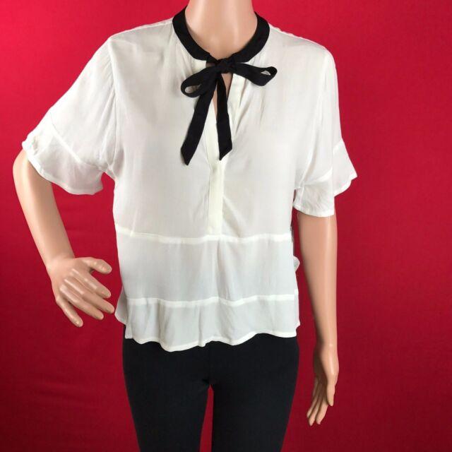 f7c5ece9 GUESS Women's White Tie-neck Crepe Hi-low Casual Top Blouse Scuffy XL  Moniart