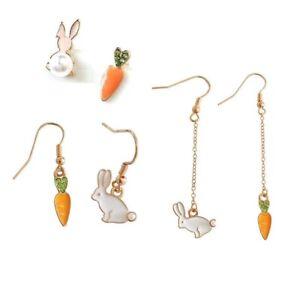 E867-Betsey-Johnson-White-Bunny-Rabbit-with-Carrot-Easter-Set-Pearl-Earrings-UK