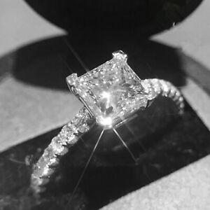 1.32 Ct Princess Moissanite Engagement Ring 14K Bridal Solid White Gold Size 5