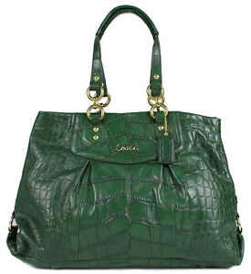 ae7e12390e2 Image is loading NWT-Coach-ASHLEY-EMBOSSED-Green-CROC-Leather-CARRYALL-