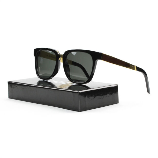 Super People 348 Sunglasses Francis Black Gold w/ Black Lens by RETROSUPERFUTURE