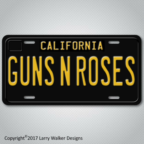 GUNS N ROSES Black 1960s Vintage California Aluminum Vanity License Plate Tag