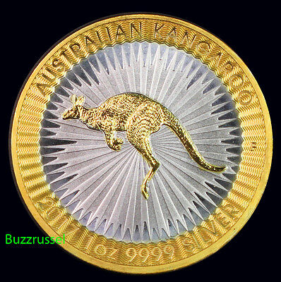 2017 Australian Kangaroo 1oz ,999 Silver Dollar $2 24K Gold Gilded Free Ship