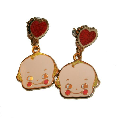 Enamel Kewpie Earrings - kitsch cute hand made