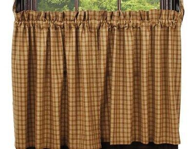 Primitive Mustard Plaid Star Shower Curtain