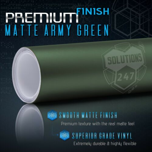 """Matte Flat Army Green Vinyl Wrap Decal Car Bubble Free Air 60/"""" x 60/"""" In Roll"""