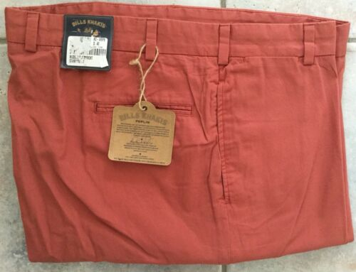 NWT-Bills Khakis Red M2-WRPB Plain Front POPLIN Size 37 MSRP $165