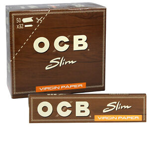 12-x-OCB-Brown-Virgin-Unbleached-Kingsize-Slim-Rolling-Paper-Ultra-thin-Natural