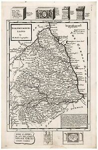 1724 Old Vintage Antique Shropshire map Moll ca