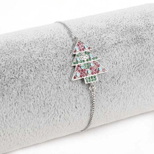 Femme Cristal Strass Pine Tree Bracelet Bangle Réglable Bracelet Bijoux