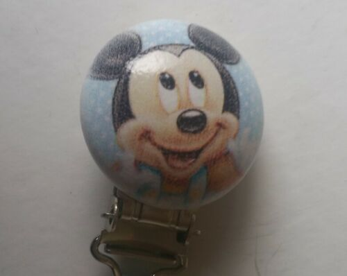 BABY BOY PERSONALISED MICKEY MOUSE WOODEN DUMMY CLIP//PACIFIER//TOY HOLDER CLIP