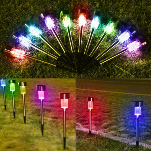 XMAS Outdoor Garden Stainless Steel LED Solar Landscape Path Lights Yard Lamp