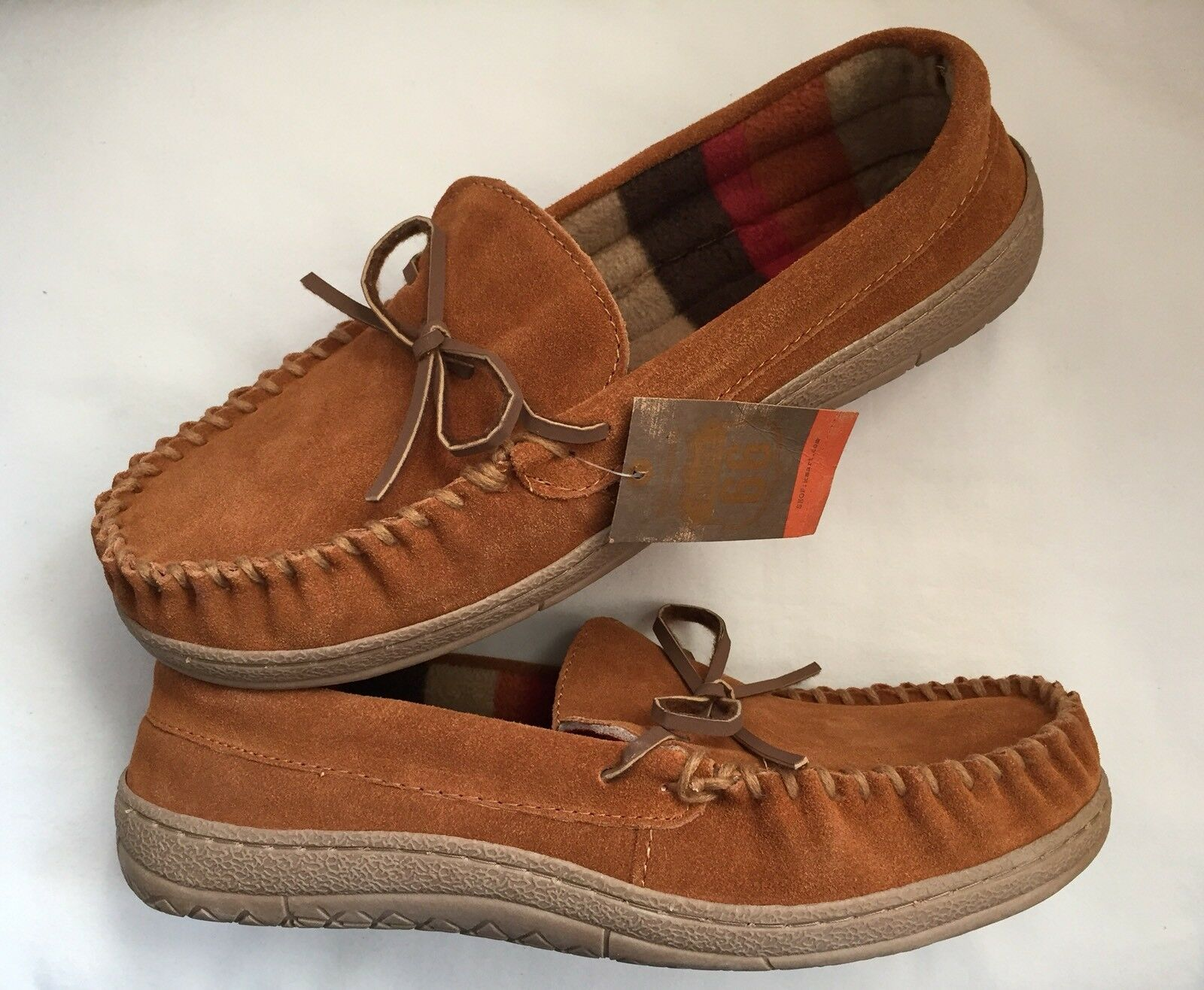 Route 66 Jordan Slippers Mens Size 11 Tan Suede Leather Rubber Sole Moccasins