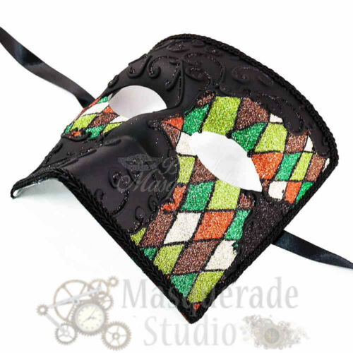 Masquerade Mask Mens Green Glitter Bauta Venetian Costume Theater Halloween