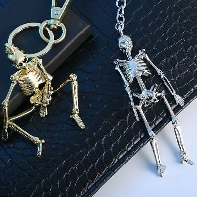 Foldable Skeleton Pendant Chain Men Women Antique Silver Color Metal Alloy Skull
