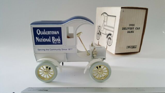 Collectible ERTL 1905 Delivery Car BankTruck Bank 1/25 Scale Diecast Quakertown