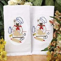 Set Of 2 - Baking Bear - Terry Guest Towels - Stamped For Embroidery