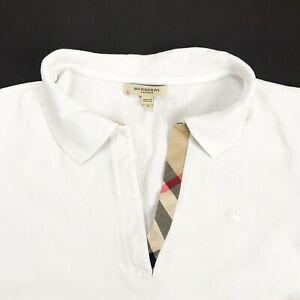 Women-039-s-BURBERRY-LONDON-Polo-Shirt-White-Short-Sleeve-Cotton-Size-S