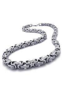 Schmuck-Herren-Kette-Edelstahl-Biker-Koenigskette-Halskette-Silber-G6H2