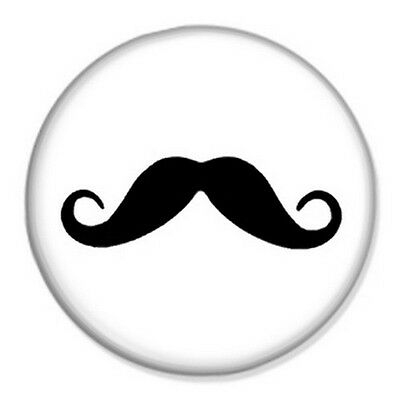 """Novelty Cute Mustache Tash 25mm 1/"""" Button Badge SORRY BUT I REALLY MOUSTACHE"""