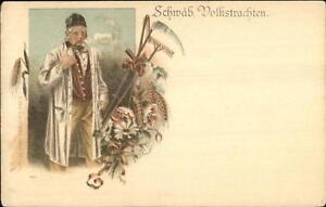 Swiss-or-German-Farmer-Smoking-Pipe-Tools-Scythe-Rake-c1900-Postcard