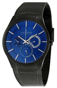 Skagen-Men-039-s-Black-Titanium-Blue-Dial-Watch-809XLTBN