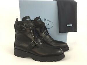 united states later differently Details about PRADA Buckle Black Leather Logo Combat Biker Ankle Boot  Booties 40.5