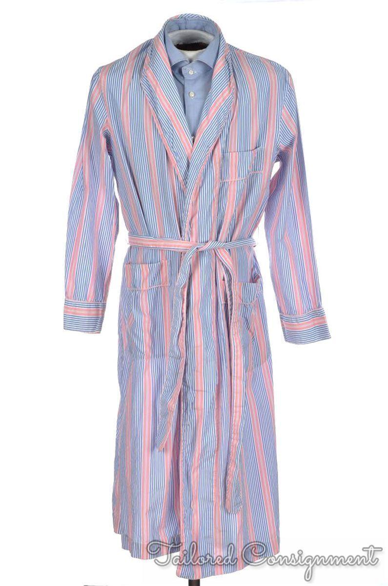 HILDITCH & KEY White bluee Pink Striped 100% Cotton Mens Sleepwear Robe - SMALL