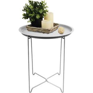 serviertisch rund 41x48cm beistelltisch tabletttisch couchtisch metall wei ebay. Black Bedroom Furniture Sets. Home Design Ideas