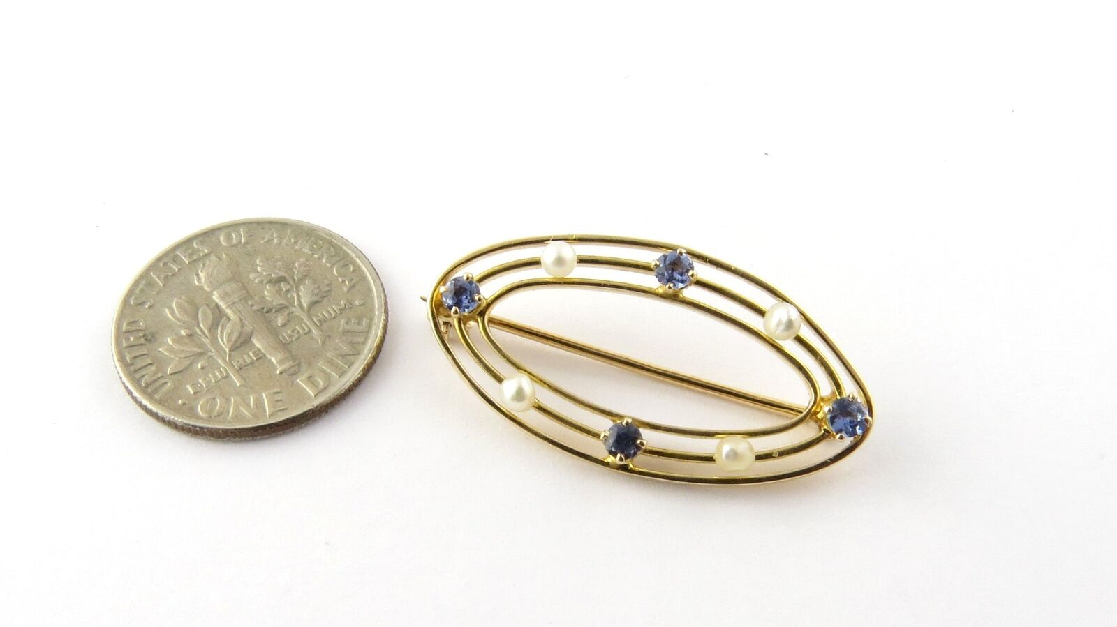 Vintage 10 Karat Yellow Gold Synthetic Sapphire a… - image 7