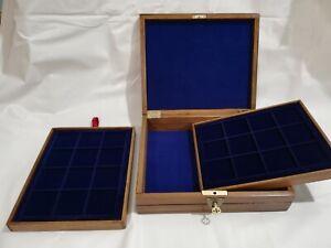 Cofanetto-Astuccio-scrigno-in-legno-colore-Castagno-per-monete-inclusi-2-vassoi